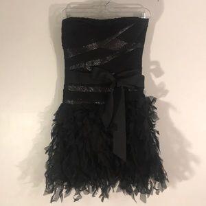 Tadashi Shoji black strapless cocktail dress